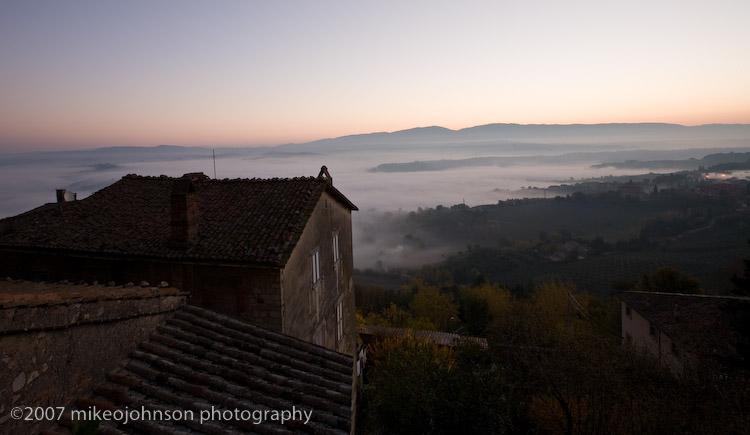 Sunrise from Todi Piaza