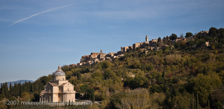 San Bagio Church with Montalcino in Background