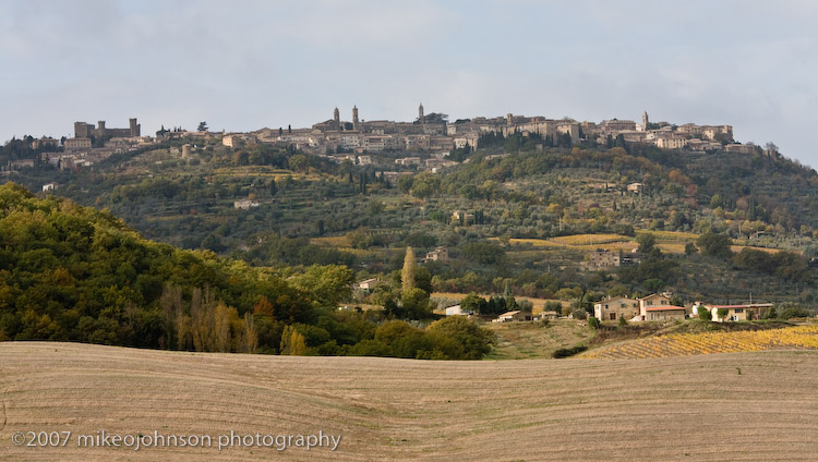 Town of Montalcino on the hill
