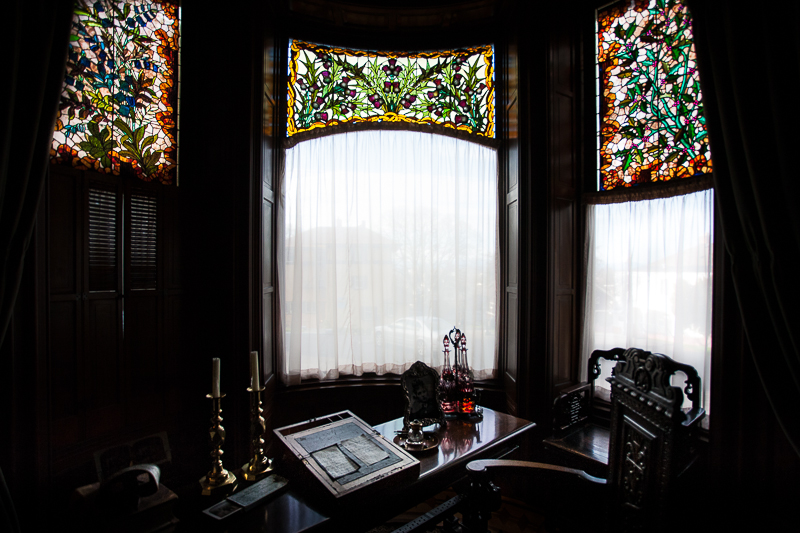 Stained glass in study room,  Craigdarroch Castle, Vancouver Island