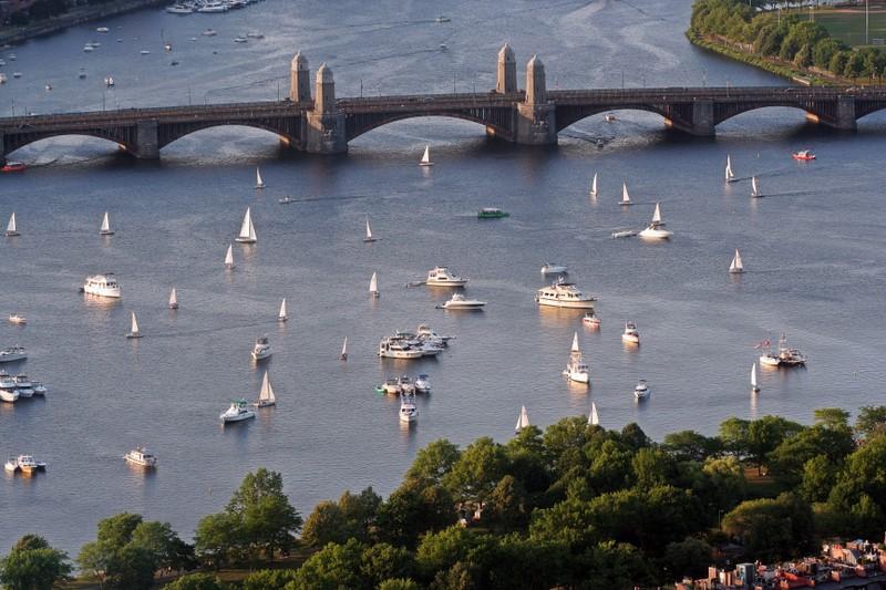 Longfellow Bridge and Sailboats in Boston