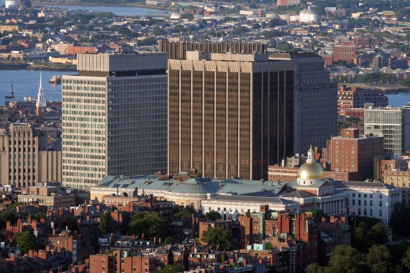 Aerial Photo of Bostons Financial District and Massachusetts State House
