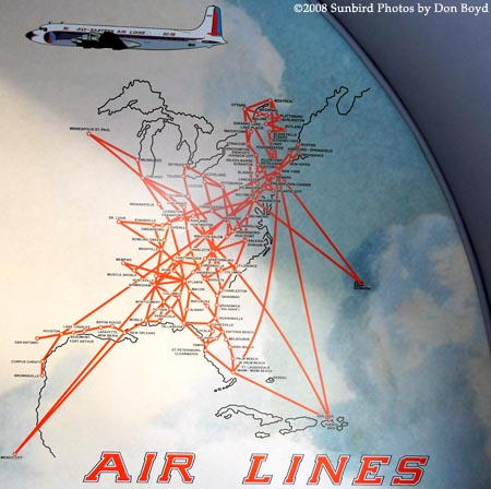 2008 - EAL route map on bulkhead of the Historical Flight Foundations restored Eastern Air Lines DC-7B N836D stock photo #10021