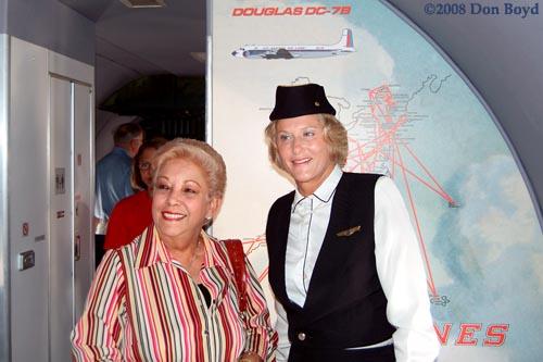 2008 - former flight attendants on the Historical Flight Foundations restored Eastern Air Lines DC-7B N836D stock photo #1433