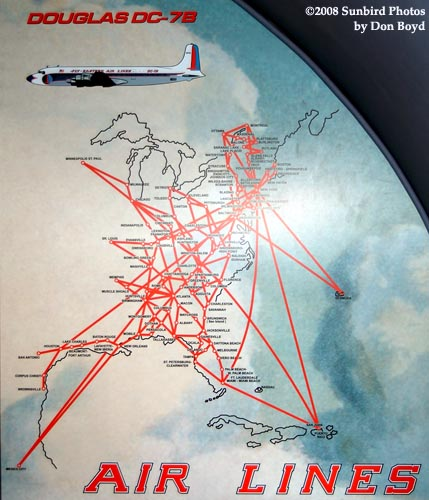 2008 - EAL route map on bulkhead of the Historical Flight Foundations restored Eastern Air Lines DC-7B N836D stock photo #1438