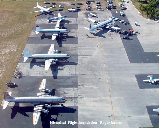 2008 - aerial view of the Historical Flight Foundations Open House at Opa-locka Executive Airport