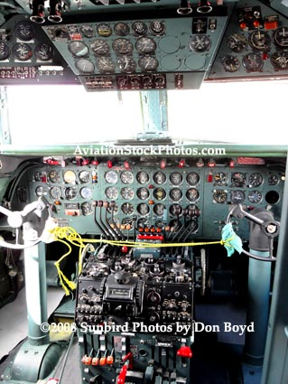 2008 - the cockpit of the Historical Flight Foundations restored DC-7B N836D stock photo #10024