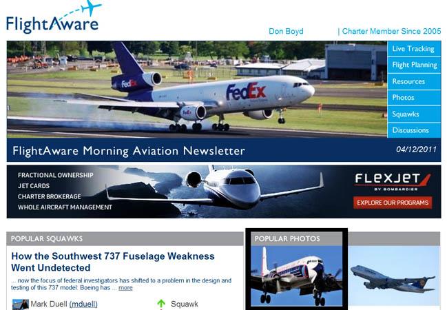 2011 - photo of DC-7B N836D on FlightAwares Morning Aviation Newsletter