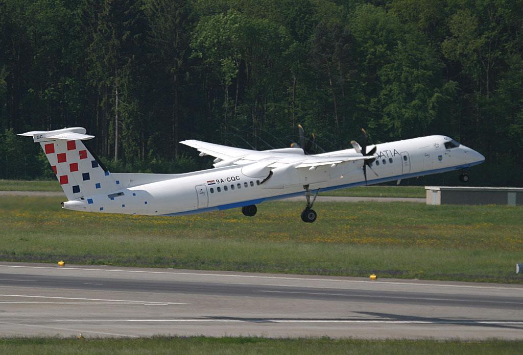 Croatia Dash-8-400 leaping off ZRH RWY 10