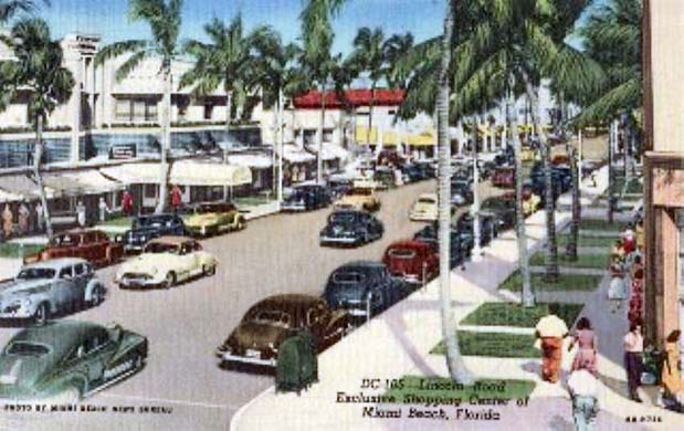 1950s - Lincoln Road shops before they malled Lincoln Road