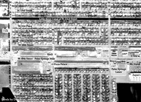 1963 - aerial view of Palm Springs Mile (W. 49th Street) from W. 12th Avenue to W. 7th Avenue, Hialeah (comments below)