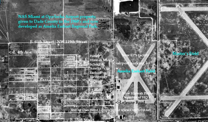1952 - aerial view of northeast section of Hialeah, Amelia Earhart Field and Masters Field