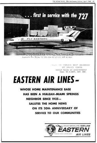 1964 - Eastern Air Lines ad congratulating the Home News on their 20th Anniversary of serving Hialeah and Miami Springs