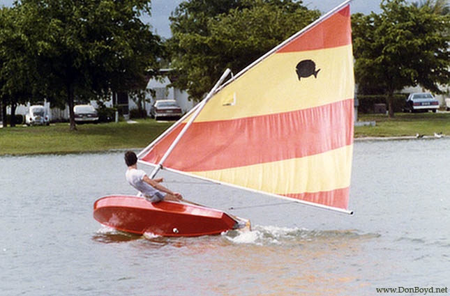1979 - Bill Riggs sailing on Lake Suzie behind our homes
