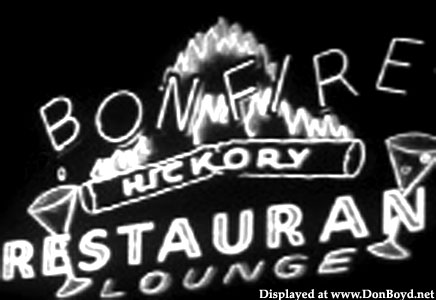 1950s - the sign for the Bonfire Restaurant on the 79th Street Causeway