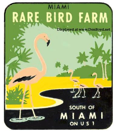 1950s - a Miami Rare Bird Farm travel decal