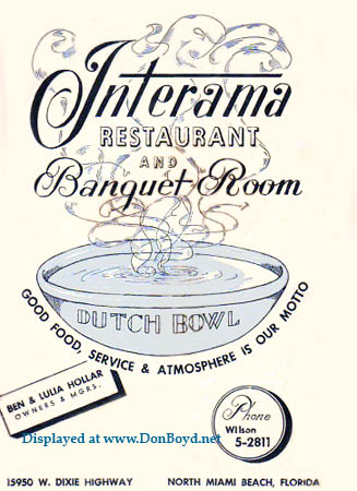 1960s - the Interama Restaurant and Banquet Room at 15950 W. Dixie Highway, North Miami Beach