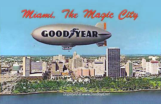 1960s - the Goodyear GZ-19A Blimp Mayflower VI N4A flying past downtown Miami
