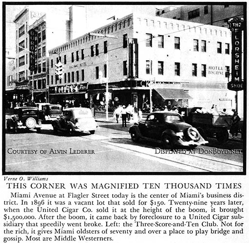 1936 - Kresge, Burdines and Hotel Biscayne at Flagler Street and Miami Avenue in downtown Miami business district
