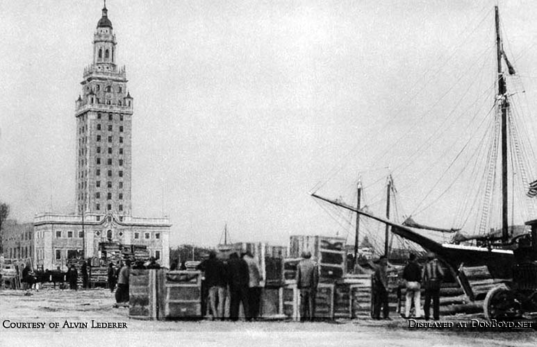 1927 - harbor dock at the Port of Miami with the Miami News Tower in the background
