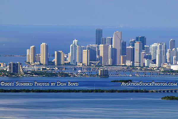 2011 - downtown Miami and Brickell area with Biscayne Bay, Julia Tuttle and Venetian Causeways in the foreground