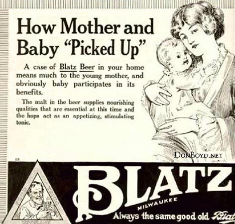 Blatz Beer being beneficial to young moms and their babies
