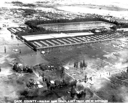 1947 - Hialeah Race Track during the Flood of 1947 caused by Hurricane VI