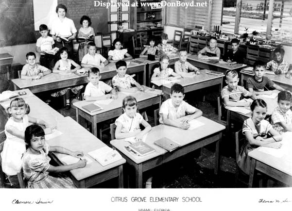 1957/58 - Mrs. Eleanore Irvins 2nd grade class at Citrus Grove Elementary School, Miami