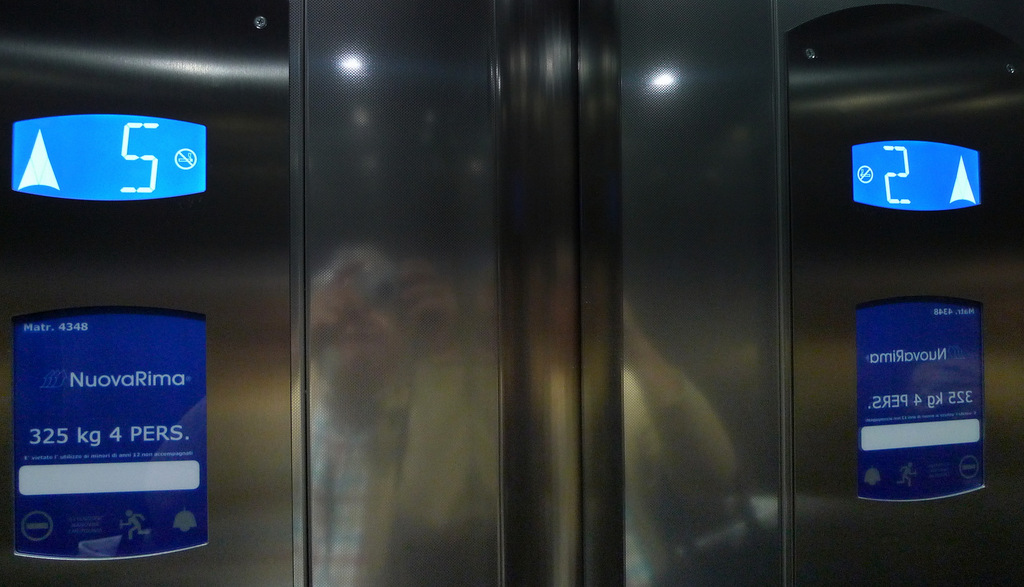 In my lift.....Contrast of images .... I can never remember which floor dress .....!!