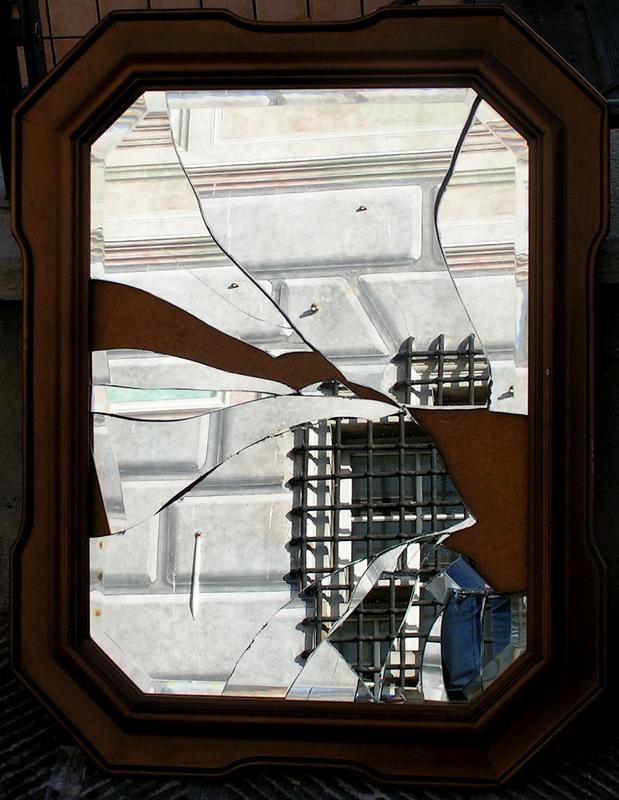 The mirror broke