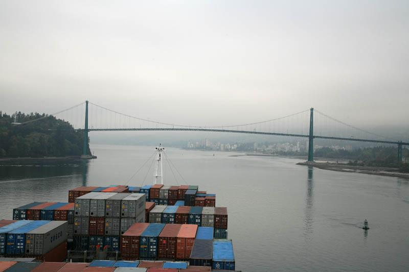 Approaching Lions Gate Bridge