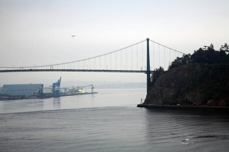View of Lions Gate Bridge Astern