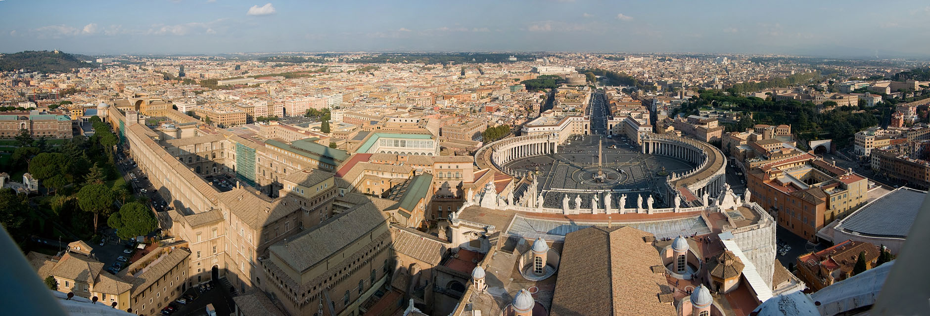 Part of Vatican City and Rome seen from St. Peters Basilica