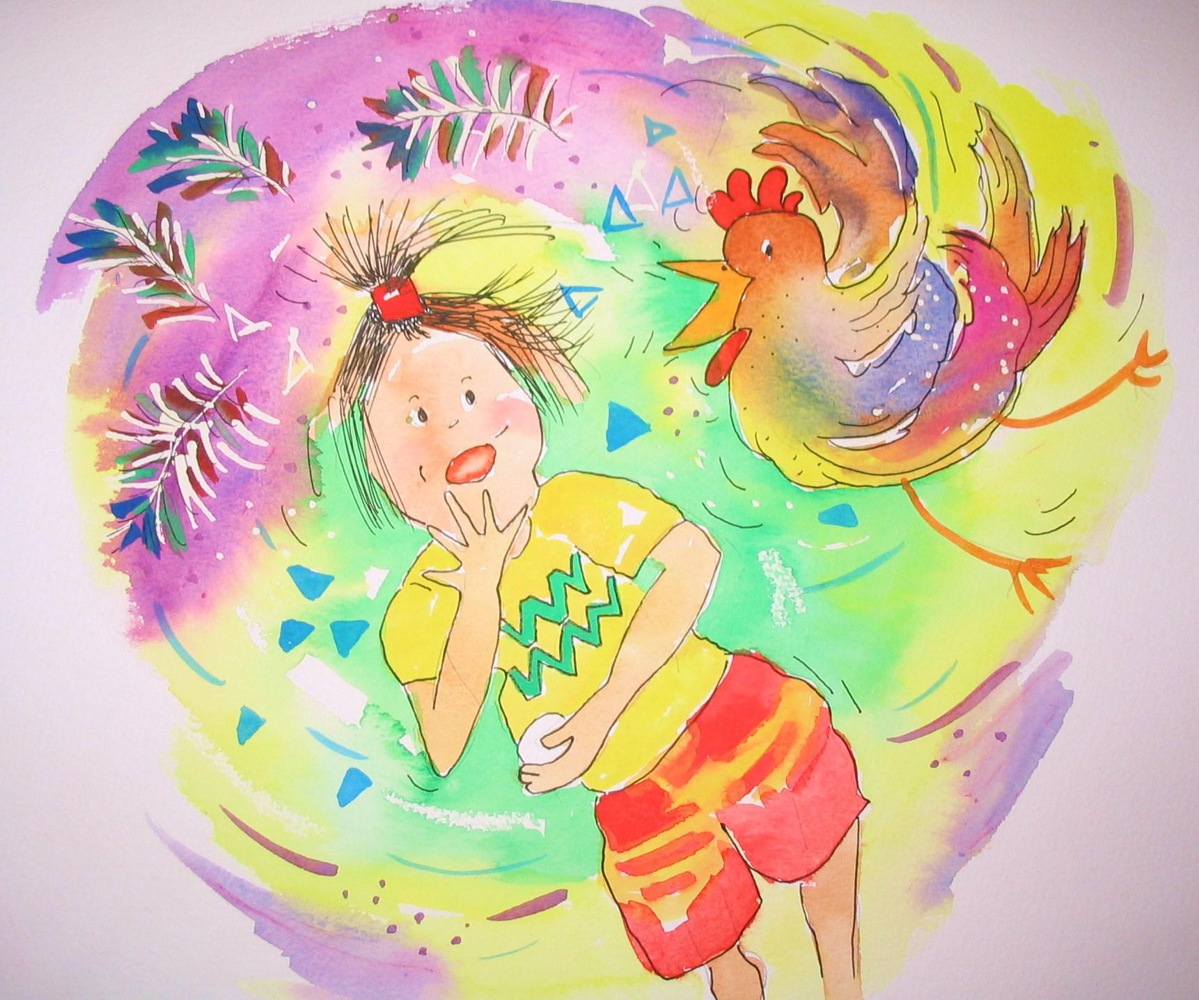 Karen scared of chickens! (Dennis & June)