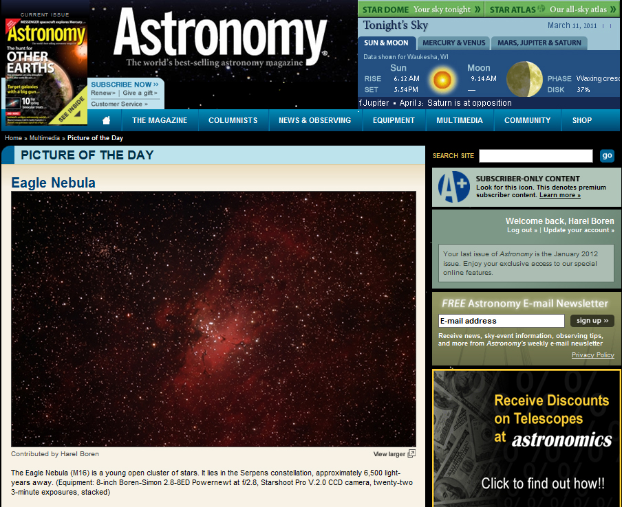 The Eagle Nebula - Picture of the Day in Astronomy Magazines Web Site - March 2011