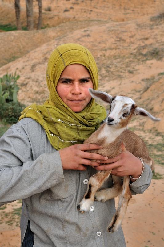 Girl with goat Matmata