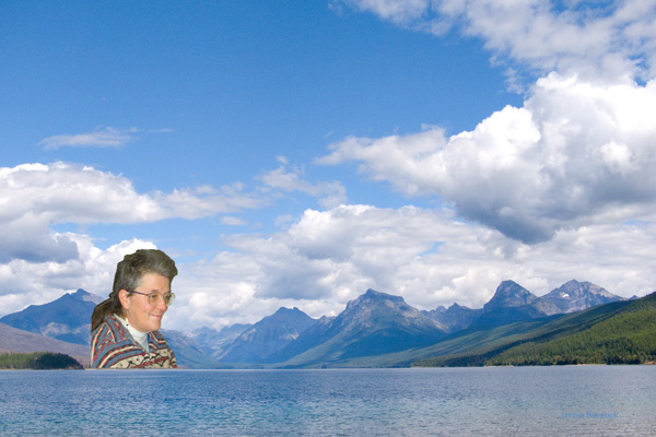 zP1010783 Montana Lady in Mountains across Lake MacDonald in Glacier National Park.jpg