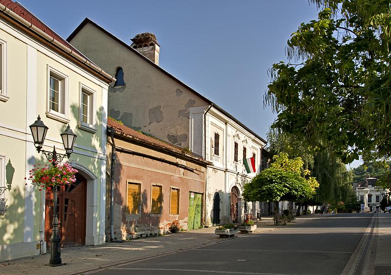 Quiet street with storks nest