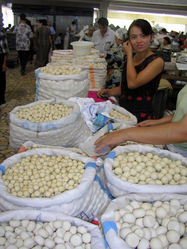 Tashkent market - the famous Central Asian yoghurt balls
