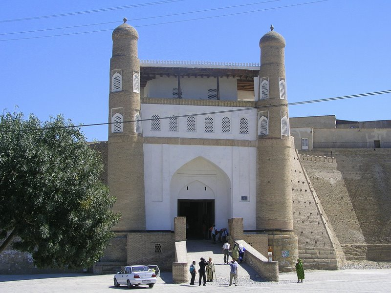 Bukhara - entrance to the Ark Fortress, dating to the 4th Century BC - once housed 30,000 people
