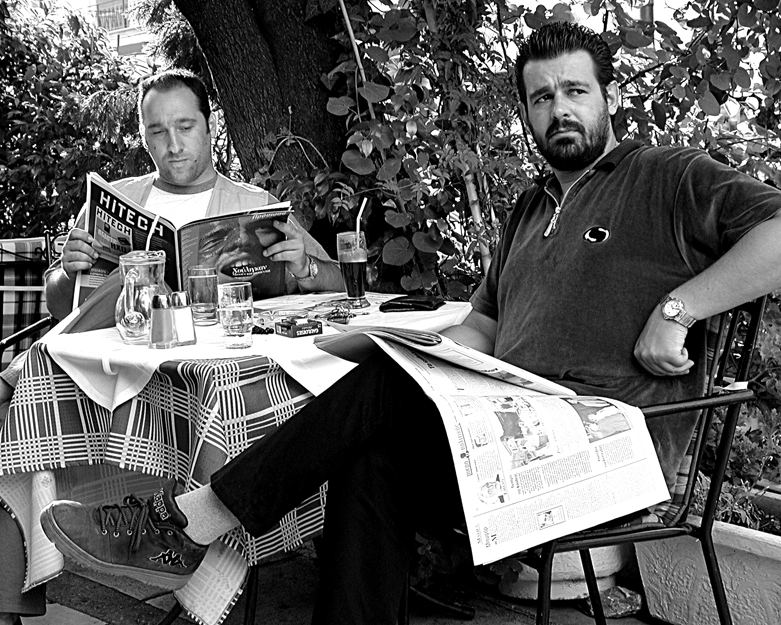 Men at a cafe in Athens, Greece