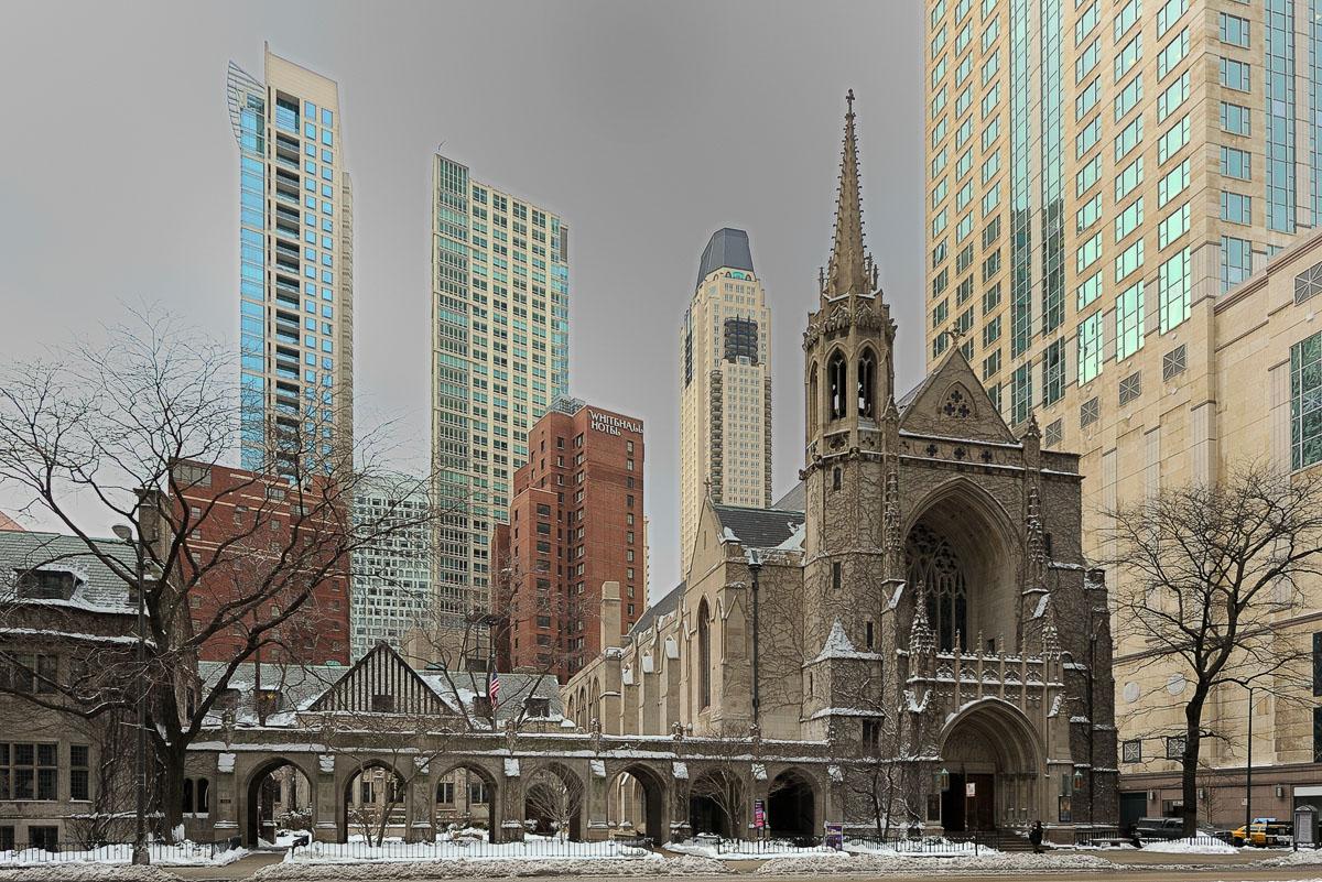 Fourth Presbyterian Church on a Gray Winter Day