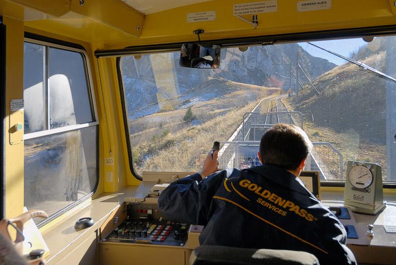 The cog rail train climbs up toward Rochers de Nayes