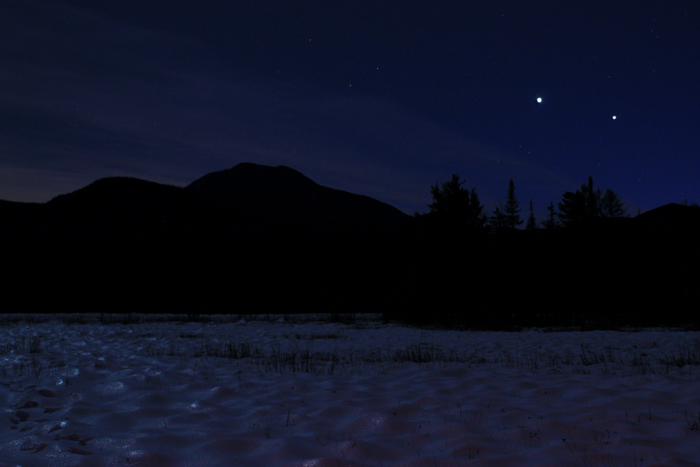 Venus and Jupiter  over Mt. Passaconaway