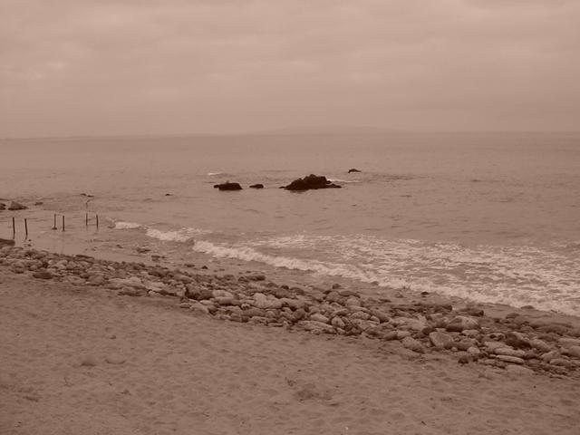 sepia art Malibu ocean beach
