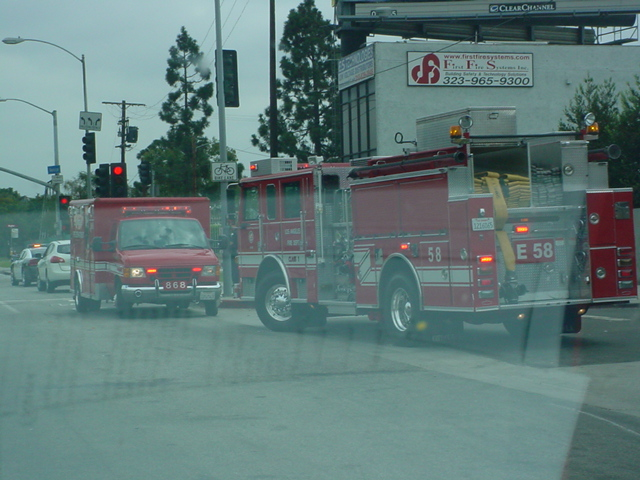 Ambulance and big Red Fire truck