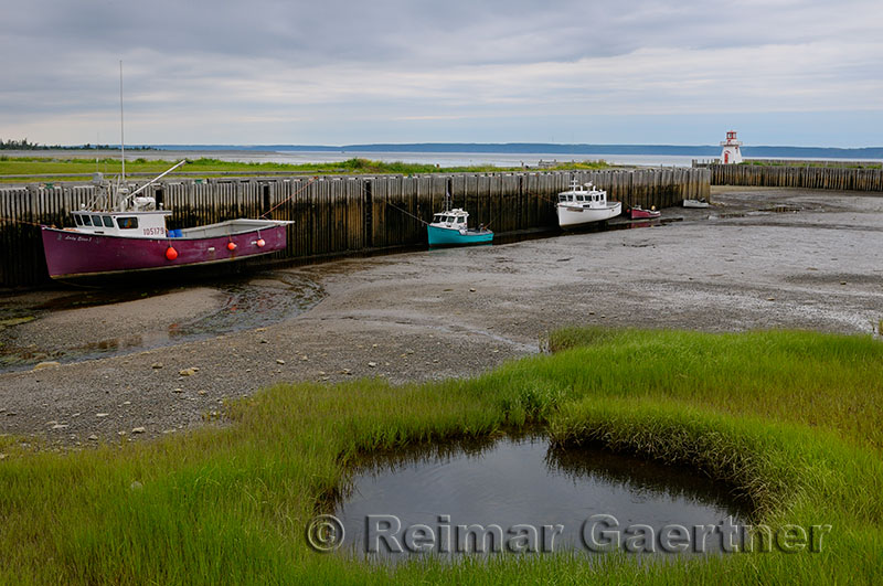 Belliveau Cove Lighthouse at low tide on the Bay of Fundy Nova Scotia