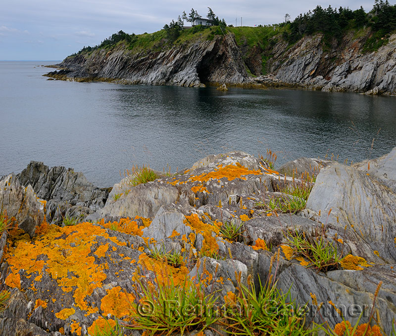 Cave and orange lichen on sea cliffs at Smugglers Cove Provincial Park Nova Scotia