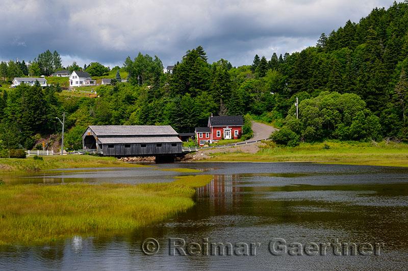 Covered bridge over the Irish River in St Martins New Brunswick