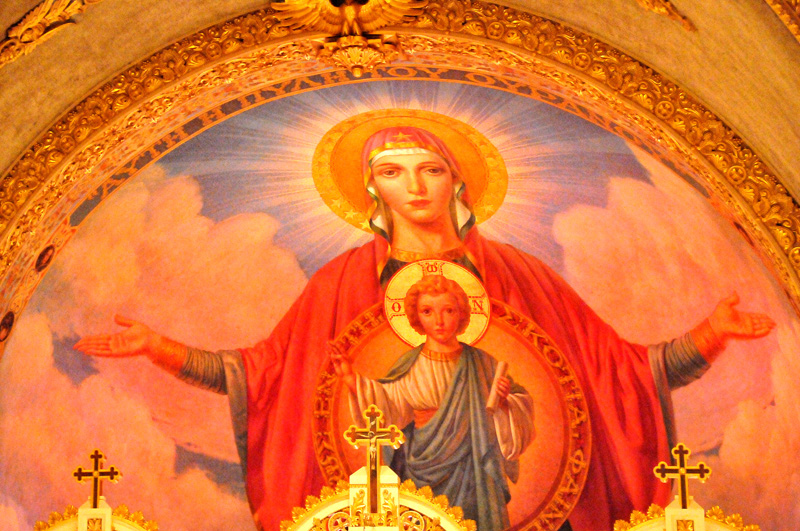 Fresco of Virgin Mary and Child Jesus